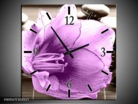Wandklok op Glas Orchidee   Kleur: Paars, Grijs   F004567CGD