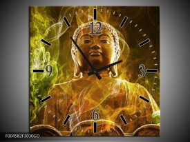 Wandklok op Glas Boeddha | Kleur: Bruin, Groen | F004582CGD