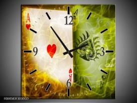 Wandklok op Glas Spel | Kleur: Rood, Groen, Geel | F004583CGD