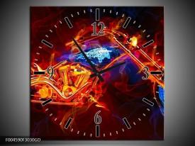 Wandklok op Glas Motor | Kleur: Rood, Blauw, Rood | F004590CGD
