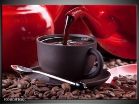 Foto canvas schilderij Koffie | Rood, Bruin, Wit