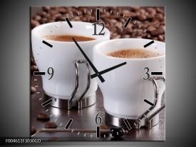 Wandklok op Glas Koffie   Kleur: Bruin, Wit   F004611CGD