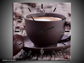 Wandklok op Canvas Koffie | Kleur: Bruin, Wit | F004613C