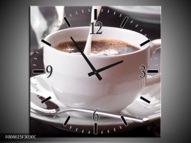 Wandklok op Canvas Koffie | Kleur: Wit, Bruin | F004615C