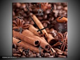 Wandklok op Glas Koffie   Kleur: Wit, Bruin   F004618CGD