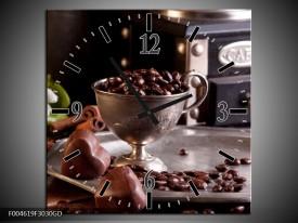 Wandklok op Glas Koffie | Kleur: Wit, Bruin | F004619CGD