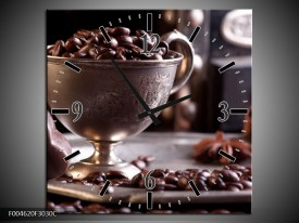 Wandklok op Canvas Koffie   Kleur: Wit, Bruin   F004620C