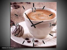 Wandklok op Glas Koffie | Kleur: Wit, Bruin | F004623CGD