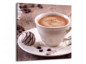 Canvas schilderij Koffie | Wit, Bruin | 50x50cm 1Luik