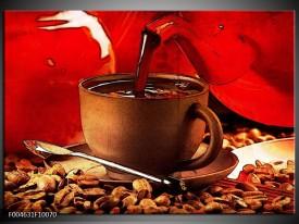 Foto canvas schilderij Koffie | Wit, Bruin, Rood
