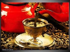 Foto canvas schilderij Koffie | Rood, Goud, Bruin