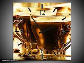 Wandklok op Glas Koffie   Kleur: Bruin, Geel   F004635CGD