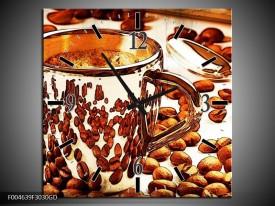 Wandklok op Glas Koffie   Kleur: Bruin, Geel   F004639CGD