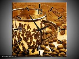 Wandklok op Glas Koffie | Kleur: Bruin, Geel | F004640CGD