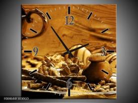 Wandklok op Glas Koffie   Kleur: Bruin, Geel   F004644CGD