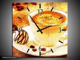 Wandklok op Glas Koffie | Kleur: Bruin, Geel | F004659CGD