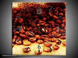 Wandklok op Glas Keuken   Kleur: Bruin, Geel   F004669CGD