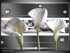 Glas schilderij Bloem   Grijs, Wit, Groen