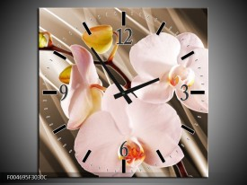 Wandklok op Canvas Orchidee | Kleur: Bruin, Roze | F004695C