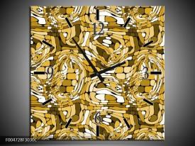 Wandklok op Canvas Modern | Kleur: Geel, Wit, Groen | F004728C
