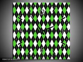 Wandklok op Glas Modern | Kleur: Groen, Wit, Zwart | F004732CGD