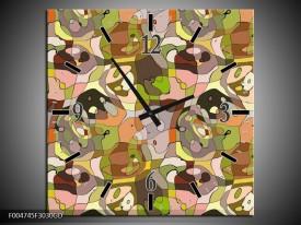 Wandklok op Glas Modern | Kleur: Groen, Geel, Bruin | F004745CGD