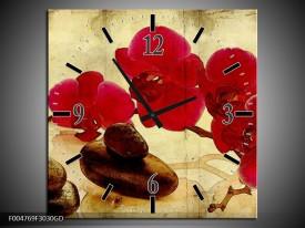 Wandklok op Glas Orchidee | Kleur: Rood, Bruin, Geel | F004769CGD