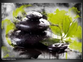 Foto canvas schilderij Spa   Groen, Zwart, Wit