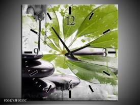 Wandklok op Canvas Spa   Kleur: Groen, Zwart, Wit   F004782C