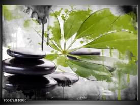Glas schilderij Spa | Groen, Zwart, Wit