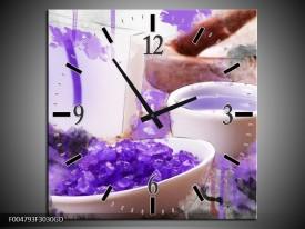 Wandklok op Glas Spa | Kleur: Paars, Wit, Bruin | F004793CGD