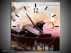Wandklok op Glas Spa | Kleur: Roze, Bruin, Geel | F004796CGD