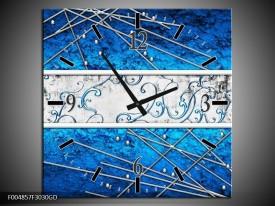 Wandklok op Glas Modern | Kleur: Blauw, Zwart | F004857CGD