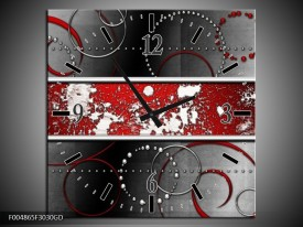 Wandklok op Glas Modern | Kleur: Rood, Grijs, Wit | F004865CGD