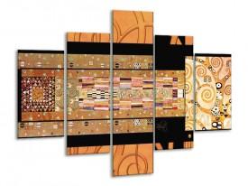 Glas schilderij Modern | Geel, Bruin, Zwart | 100x70cm 5Luik