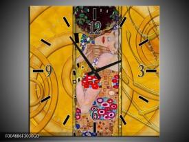 Wandklok op Glas Modern | Kleur: Geel, Roze, Rood | F004886CGD