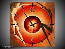 Wandklok op Glas Modern | Kleur: Bruin, Oranje, Zwart | F004890CGD
