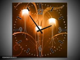 Wandklok op Glas Modern | Kleur: Bruin, Wit | F004900CGD