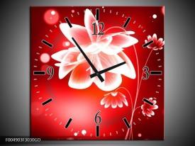 Wandklok op Glas Bloem | Kleur: Rood, Wit | F004903CGD