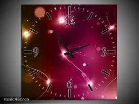 Wandklok op Glas modern   Kleur: Paars, Roze   F004907CGD