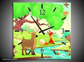 Wandklok op Glas Sprookje | Kleur: Groen, Oranje, Paars | F004918CGD