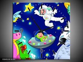 Wandklok op Canvas Sprookje | Kleur: Groen, Blauw, Paars | F004924C
