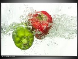 Glas schilderij Paprika   Groen, Rood, Wit
