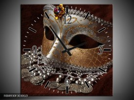 Wandklok op Glas Masker | Kleur: Bruin, Wit, Zwart | F004930CGD