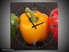 Wandklok op Glas Paprika | Kleur: Rood, Geel, Groen | F004931CGD
