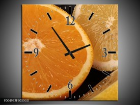 Wandklok op Glas Keuken | Kleur: Geel, Oranje, Bruin | F004932CGD