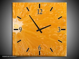 Wandklok op Glas Keuken | Kleur: Geel, Oranje, Bruin | F004934CGD