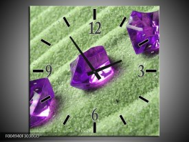 Wandklok op Glas Spa   Kleur: Paars, Groen   F004940CGD