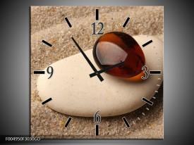 Wandklok op Glas Spa | Kleur: Oranje, Creme, Wit | F004950CGD