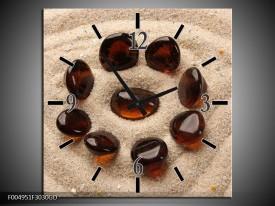 Wandklok op Glas Spa   Kleur: Oranje, Creme, Bruin   F004951CGD